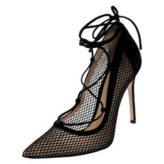 Gianvito Rossi Black Suede And Mesh Pointed Toe Ankle Wrap Pumps Size 40