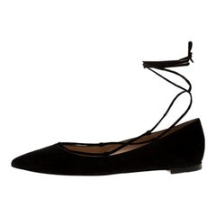 Gianvito Rossi Black Suede Femi Ankle Wrap Pointed Toe Flats Size 36.5