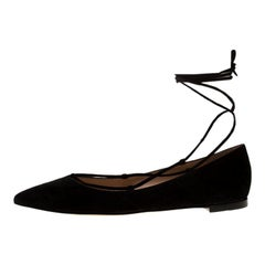 Gianvito Rossi Black Suede Femi Ankle Wrap Pointed Toe Flats Size 38.5