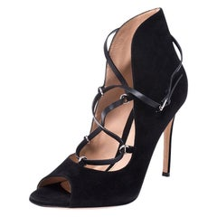 Gianvito Rossi Black Suede Peep Toe Lace Up Booties Size 38