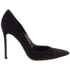 GIANVITO ROSSI black suede Pointed Toe Stiletto Pumps Shoes 37.5