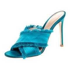 Gianvito Rossi Blue Frayed Satin Open Toe Slides Size 36.5