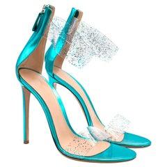 Gianvito Rossi Blue Glitter Ankle Strap Open Toe Heels 40