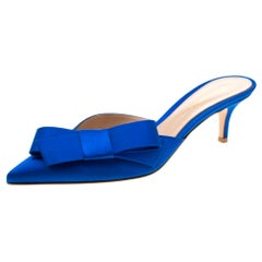 Gianvito Rossi Blue Satin Kyoto Bow Pointed Toe Slip On Mules Size 37.5