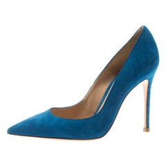 Gianvito Rossi Blue Suede Pointed Toe Pumps Size 36