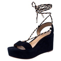 Gianvito Rossi Blue Suede Wedge Platform Ankle Wrap Sandals Size 39