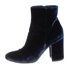 Gianvito Rossi Blue Velvet Rolling 85 Ankle Boots Size 36