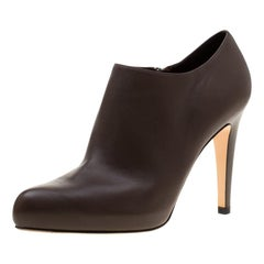Gianvito Rossi Brown Leather Ankle Booties Size 37