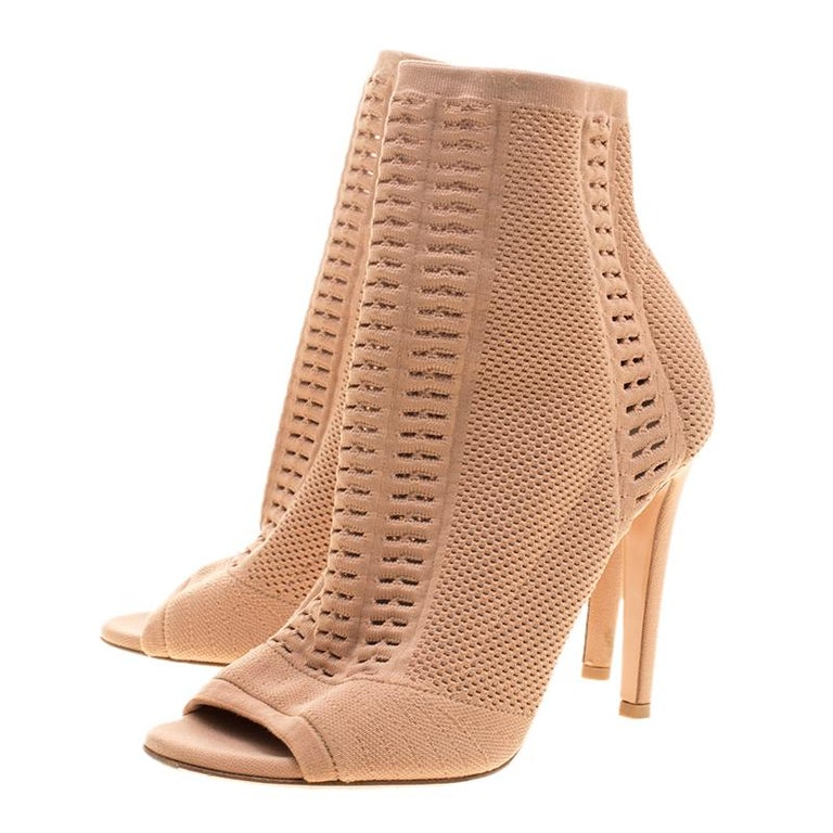 edfe23d87c7 Women s Gianvito Rossi Brown Perforated Stretch Knit Vires Boots Size 36  For Sale