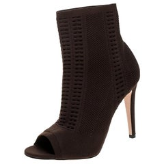 Gianvito Rossi Brown Perforated Stretch Knit Vires Boots Size 39.5