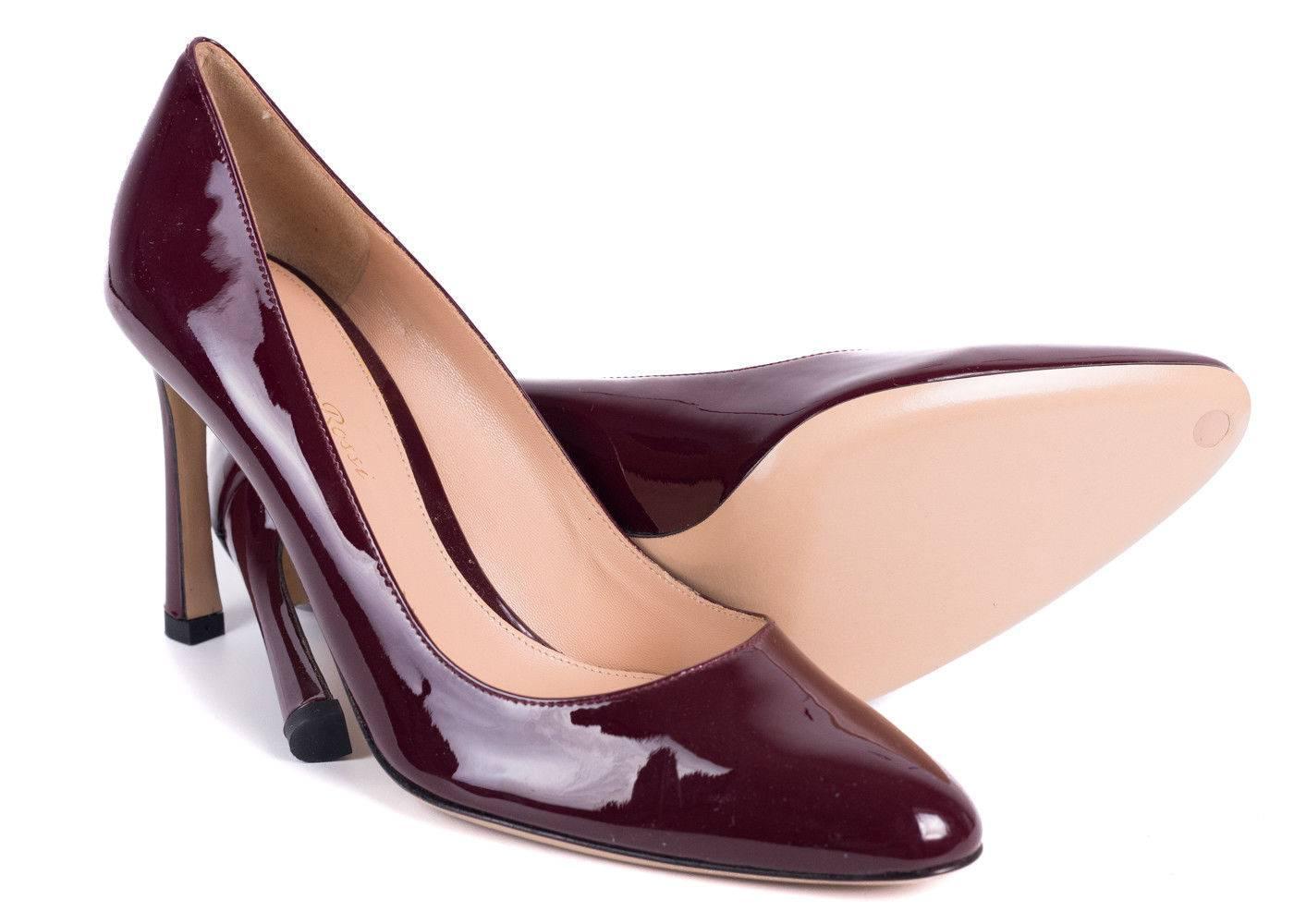 Gianvito Rossi Burgundy Patent Pelle Pelle Pelle Classic Almond Toe Pumps For 44e564