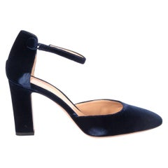 GIANVITO ROSSI dark blue Velvet Mary-Jane BLOCK HEEL Pumps Shoes 38.5