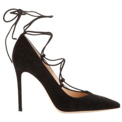 Gianvito Rossi Femi Lace-Up Suede Pumps