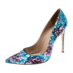 Gianvito Rossi For Mary Multicolor Floral Fabric Pointed Toe Pumps Size 38.5