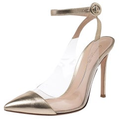 Gianvito Rossi Gold Foil Leather and PVC Plexi Pointed Toe Ankle Strap Sandals38