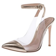 Gianvito Rossi Gold Leather And PVC Anise Pointed Toe Ankle Pumps Size 37.5