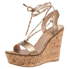 Gianvito Rossi Gold Leather Wedges Ankle Wrap Sandals Size 39.5
