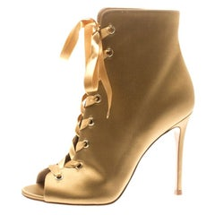 Gianvito Rossi Gold Satin Marie Peep Toe Lace Up Ankle Booties Size 36