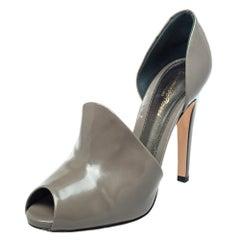 Gianvito Rossi Grey Leather Cutout Peep Toe Pumps Size 40