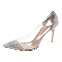Gianvito Rossi Grey Suede And PVC Plexi Pointed Toe Pumps Size 40.5