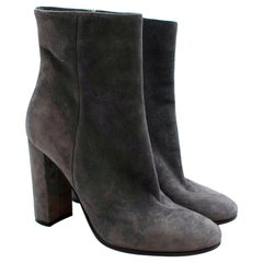 Gianvito Rossi Grey Suede Heeled Ankle Boots - Size 38