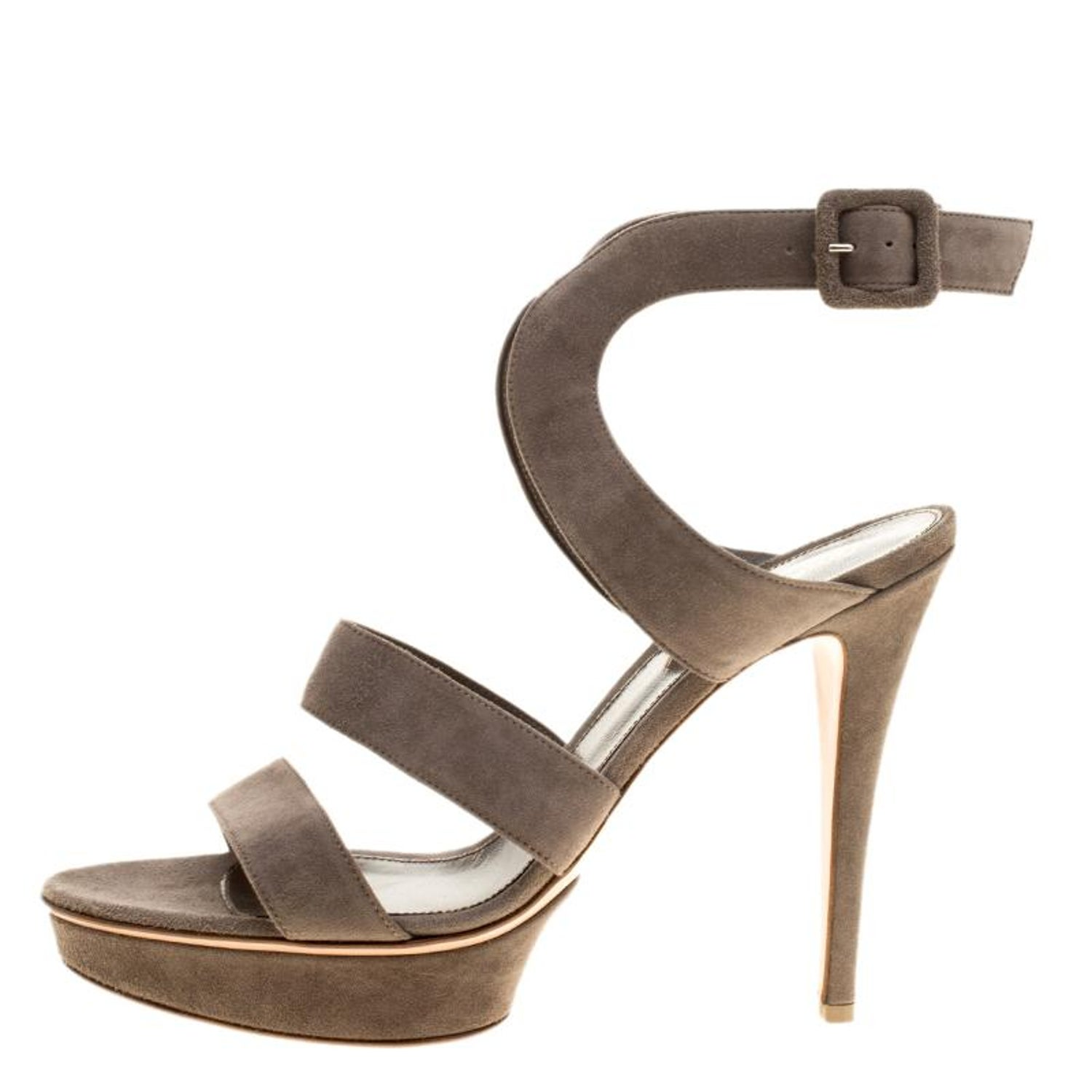 6a6cd3d6001 Gianvito Rossi Grey Suede Platform Sandals Size 40 For Sale at 1stdibs