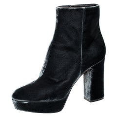 Gianvito Rossi Grey Velvet Platform Ankle Boots Size 40