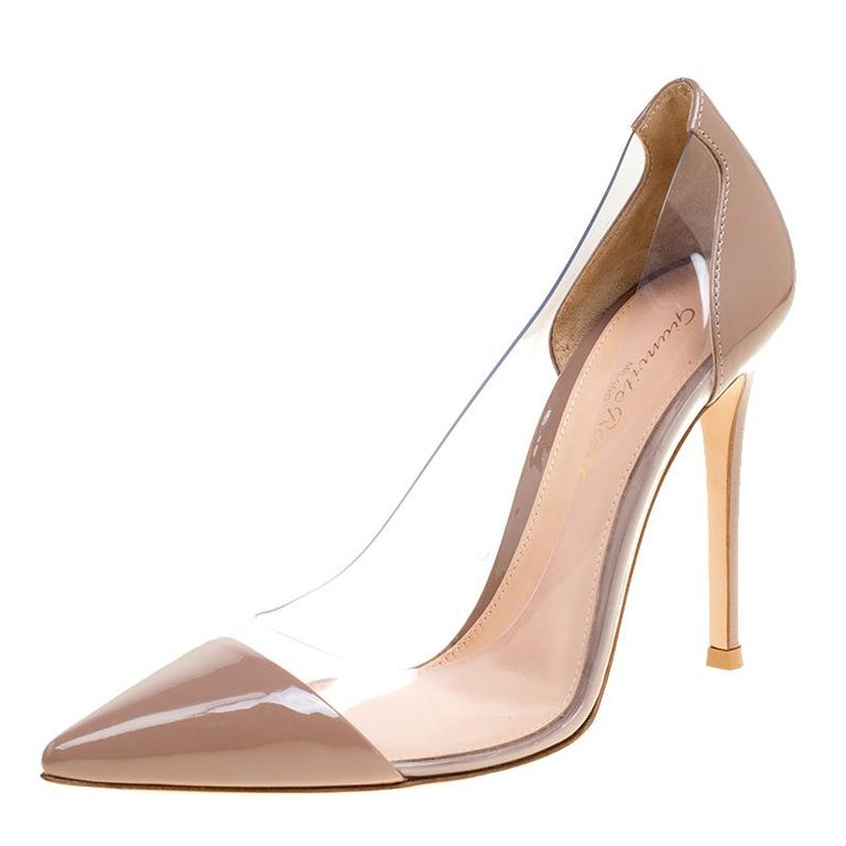 60339d769c9 Gianvito Rossi Hazelnut Beige Patent Leather and PVC Plexi Pumps Size 36  For Sale