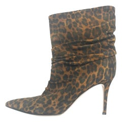Gianvito Rossi Leopard-Print Suede Cecile 85 Ankle Booties sz 40 rt. $1,495
