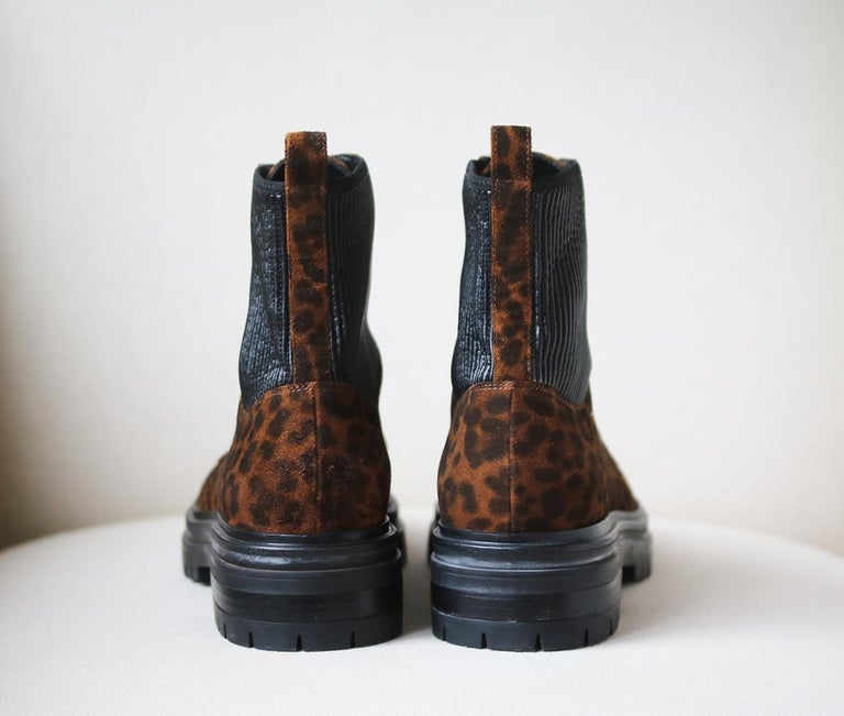 Women's Gianvito Rossi Martis 40 Leopard-Print Suede Boots For Sale