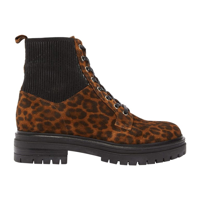 Gianvito Rossi Martis 40 Leopard-Print Suede Boots For Sale