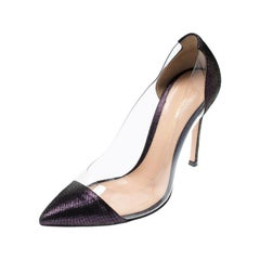 Gianvito Rossi Metallic Black/Purple Suede And Pointed Toe Pumps Size 35.5