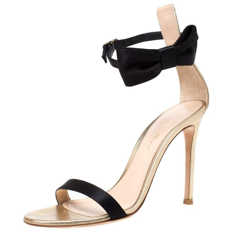 Gianvito Rossi Metallic Gold Leather And Black Satin Bow Detail Sandals Size 36