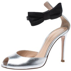 Gianvito Rossi Metallic Silver/Black Leather Bunny Bow Ankle Strap Sandals 35