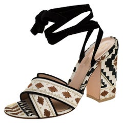 Gianvito Rossi Multicolor Embroidered Canvas And Suede Ankle Wrap Sandal 40