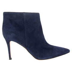 GIANVITO ROSSI navy blue suede STILO Ankle Boots Shoes 36