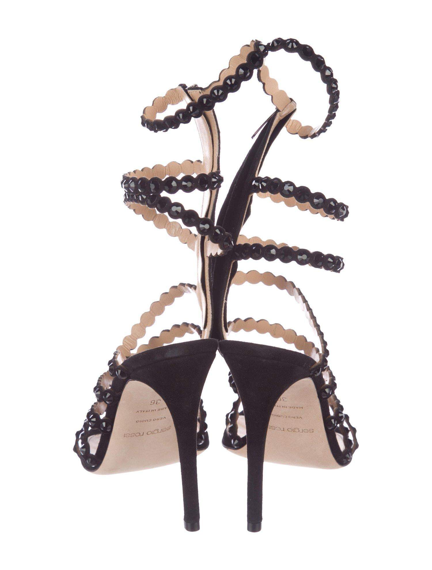 f1c47f42a2 GIANVITO ROSSI NEW Black Leather Crystal Gladiator Strappy Sandals Heels in  Box For Sale at 1stdibs