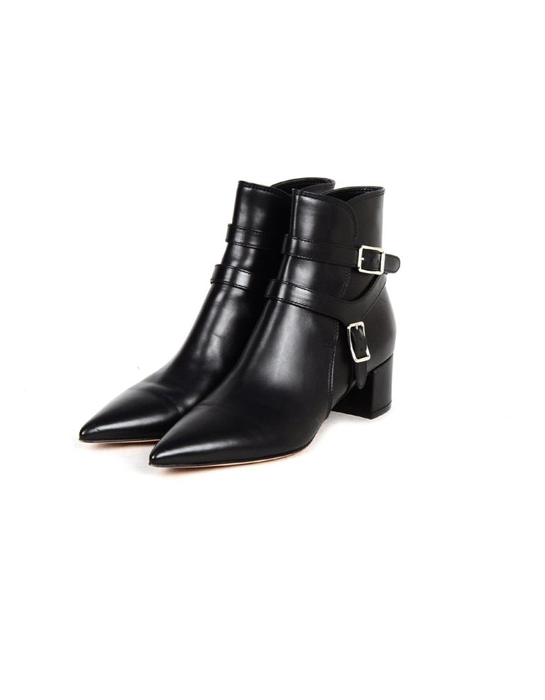 Gianvito Rossi New Black Leather Roni Buckle Ankle Boot sz 38 rt $1,375 In Excellent Condition For Sale In New York, NY