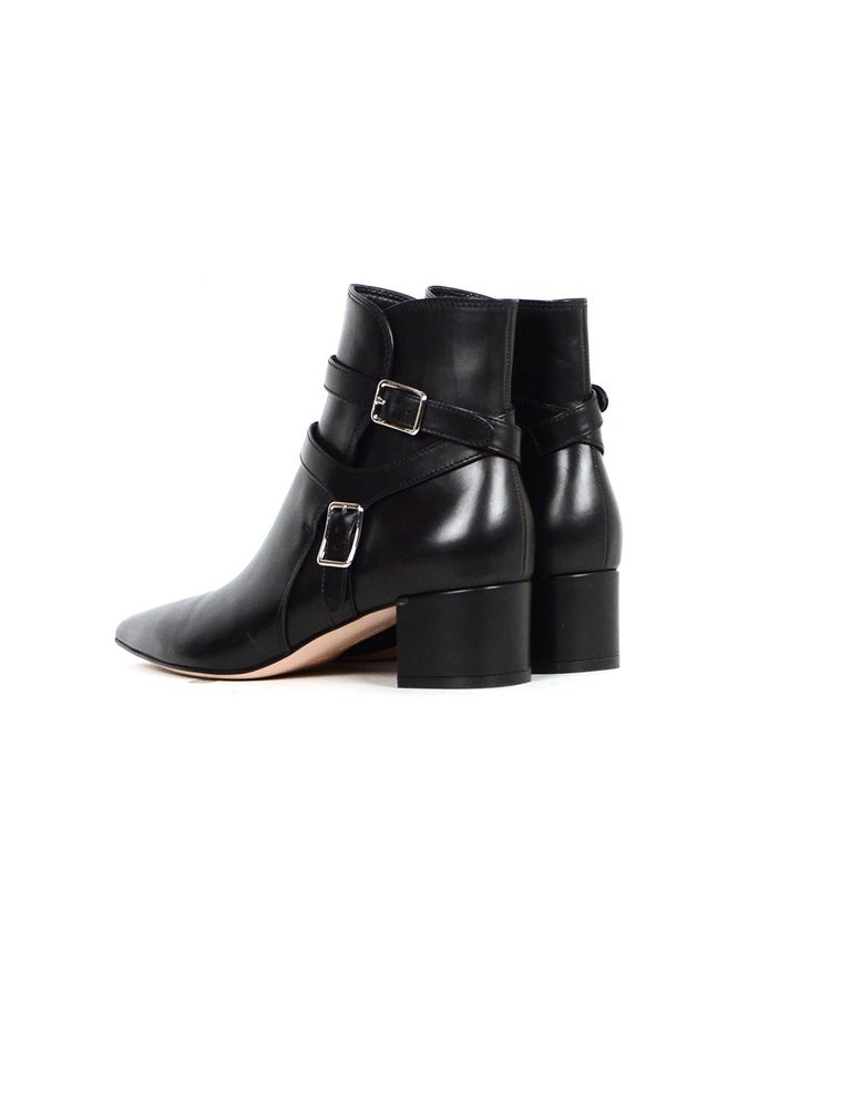 Women's Gianvito Rossi New Black Leather Roni Buckle Ankle Boot sz 38 rt $1,375 For Sale