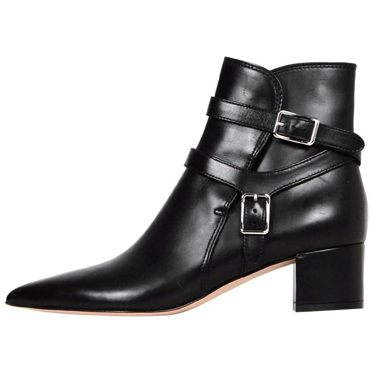 Gianvito Rossi New Black Leather Roni Buckle Ankle Boot sz 38 rt $1,375 For Sale