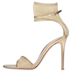 Gianvito Rossi NEW Gold Mesh Leather Strappy Ankle Evening Sandals Heels in Box