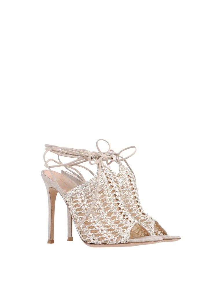 Gianvito Rossi NEW Gold Mesh Leather Strappy Ankle Evening Sandals Heels in Box  Size IT 36.5 Suede Crochet Ankle tie closure Made in Italy Heel height 4.25