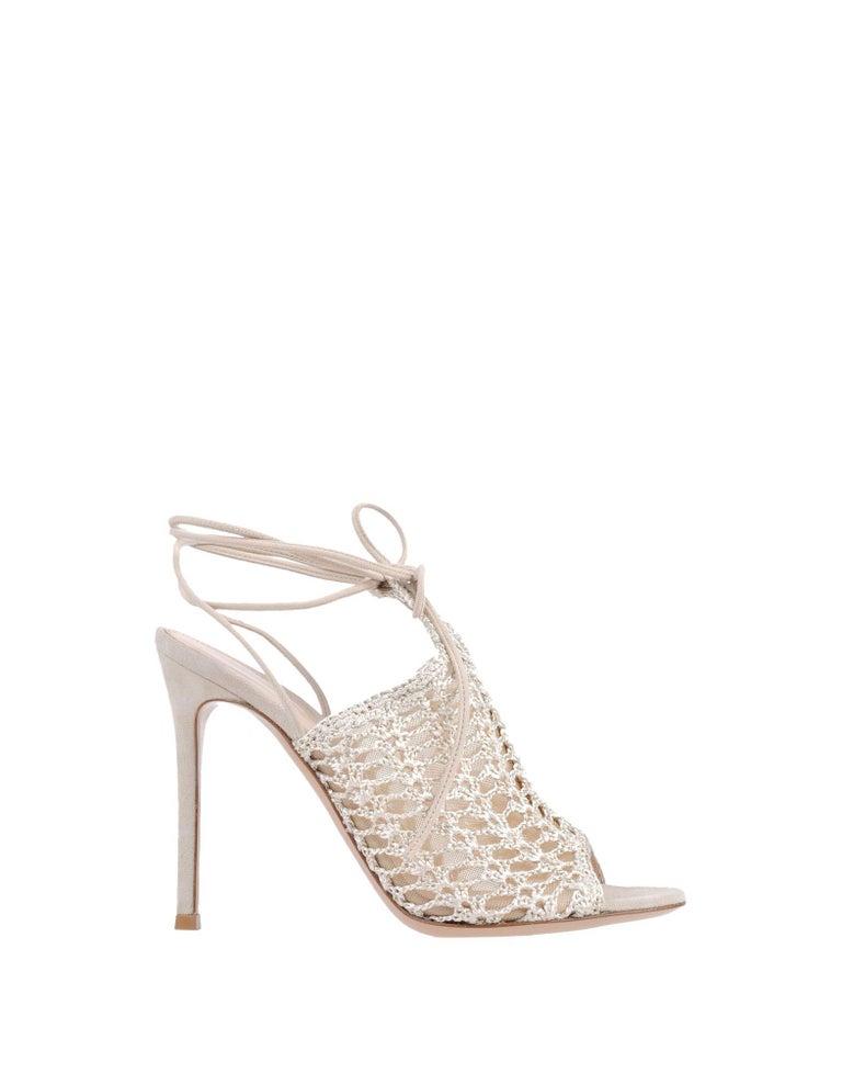 Beige Gianvito Rossi NEW Nude Suede Crochet Tie Ankle Evening Sandals Heels in Box For Sale