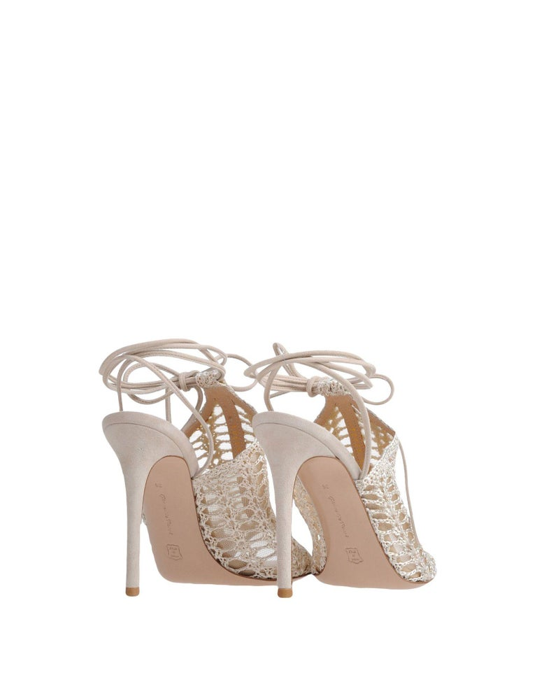 Gianvito Rossi NEW Nude Suede Crochet Tie Ankle Evening Sandals Heels in Box In New Condition For Sale In Chicago, IL