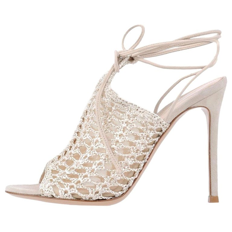 Gianvito Rossi NEW Nude Suede Crochet Tie Ankle Evening Sandals Heels in Box For Sale