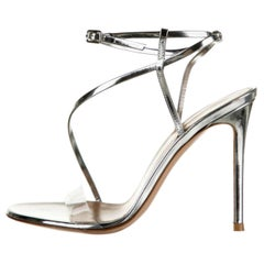 Gianvito Rossi NEW Silver Leather Clear PVC Strappy Evening Sandals Heels Pumps