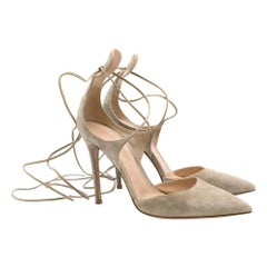 Gianvito Rossi Nude Suede Lace-Up Pumps SIZE 39