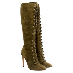 Gianvito Rossi Olive Green Suede Knee-High Boots 39