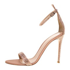 Gianvito Rossi Pale Pink Crystal  Satin  Ankle Strap Open Toe Sandals Size 40
