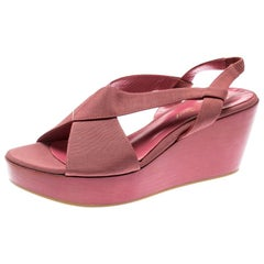 Gianvito Rossi Pink Canvas Wedge Cross Strap Sandals Size 37
